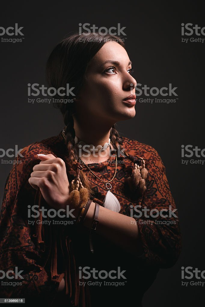 portrait of beautiful native american woman stock photo