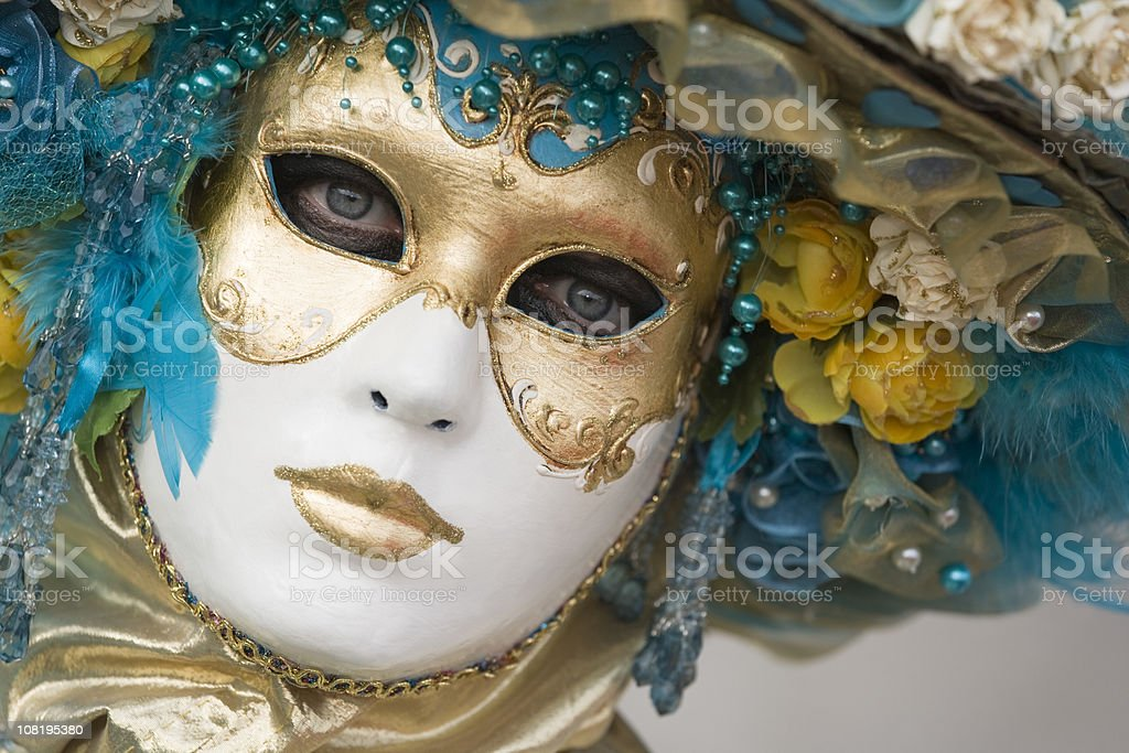 Portrait of beautiful Ornate female Mask at carnival in Venice stock photo