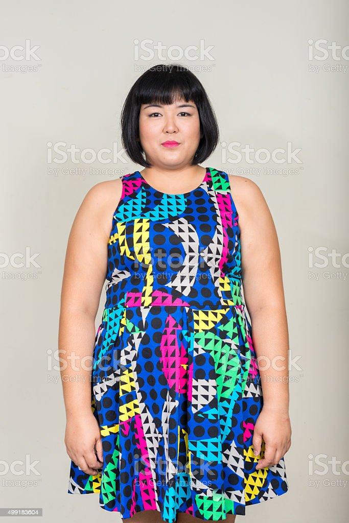 Portrait of beautiful overweight Asian woman stock photo