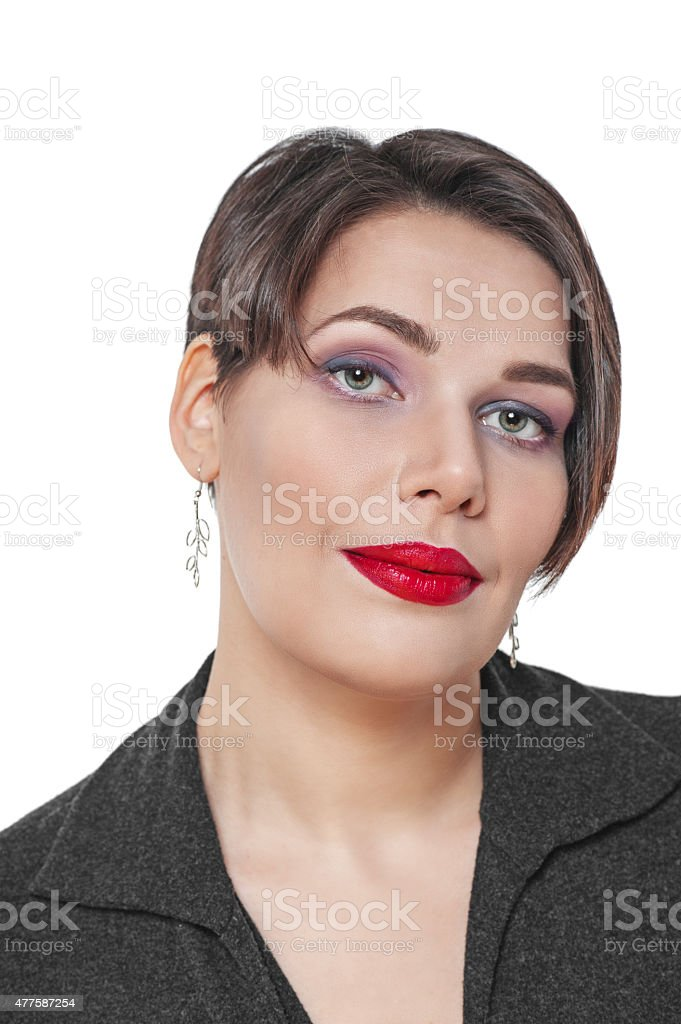 Portrait of beautiful plus size woman isolated stock photo