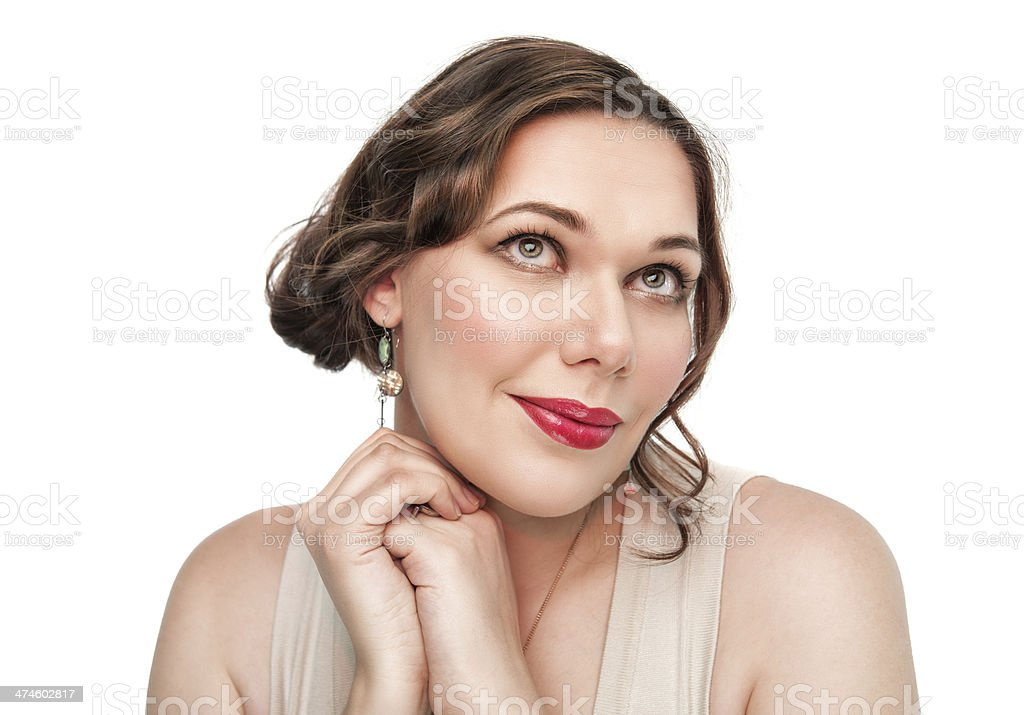 Portrait of beautiful plus size woman stock photo