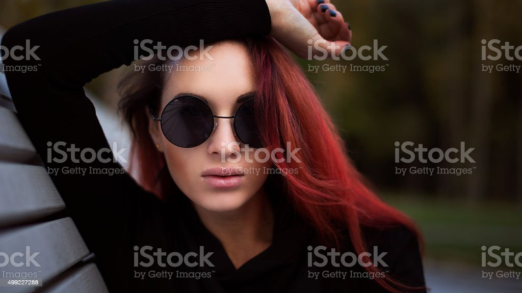 Portrait of beautiful red haired woman stock photo