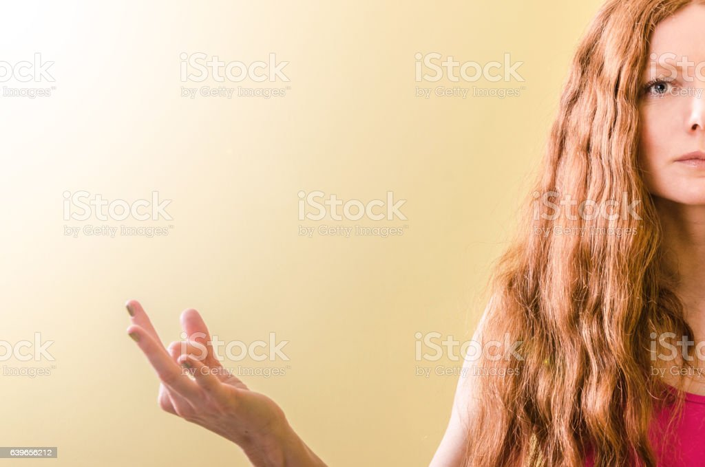 Portrait of beautiful red-haired girl who practice yoga stock photo