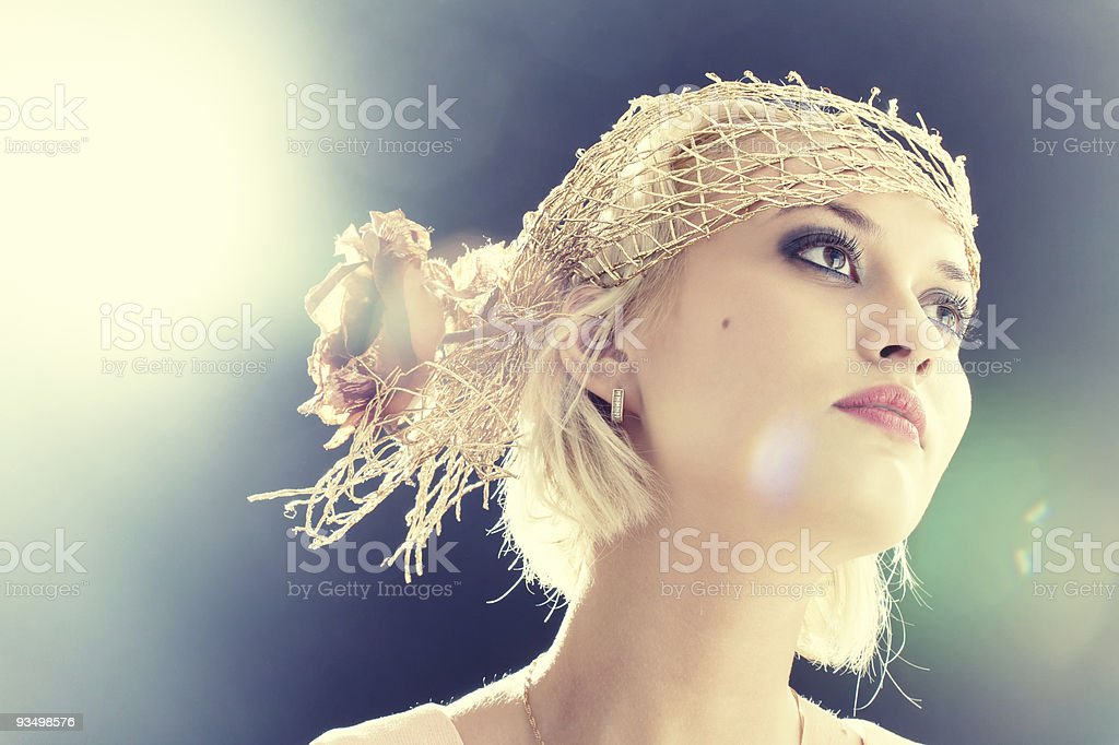 Portrait of beautiful retro-style woman in bonnet stock photo