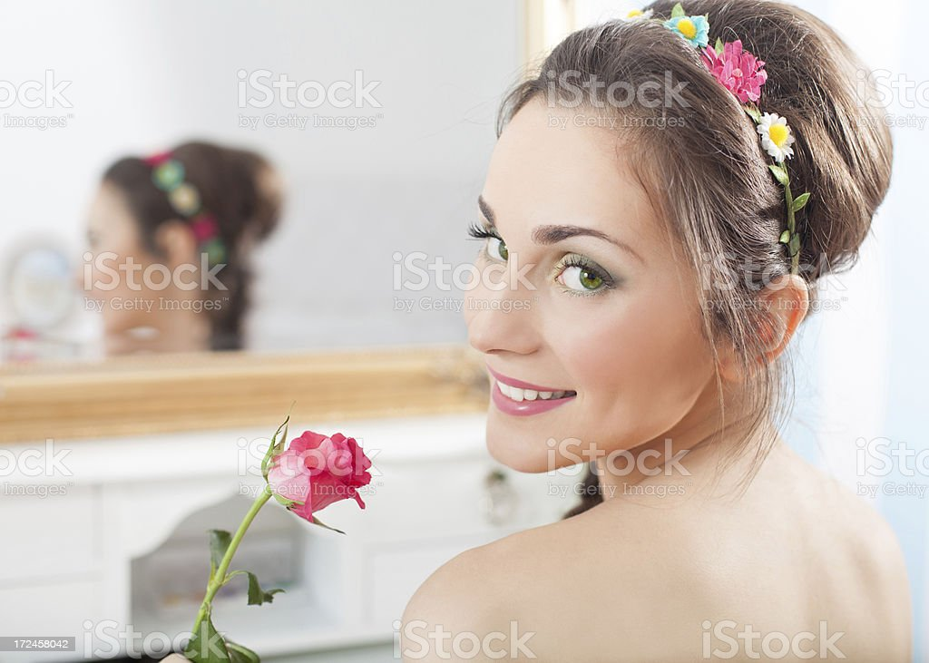 Portrait of beautiful romantic girl with mirror royalty-free stock photo
