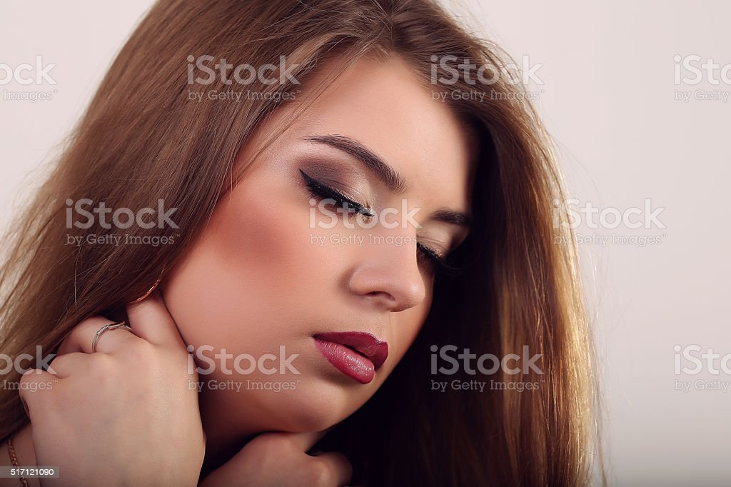 Portrait of beautiful sensual woman with elegant hairstyle. Perf royalty-free stock photo