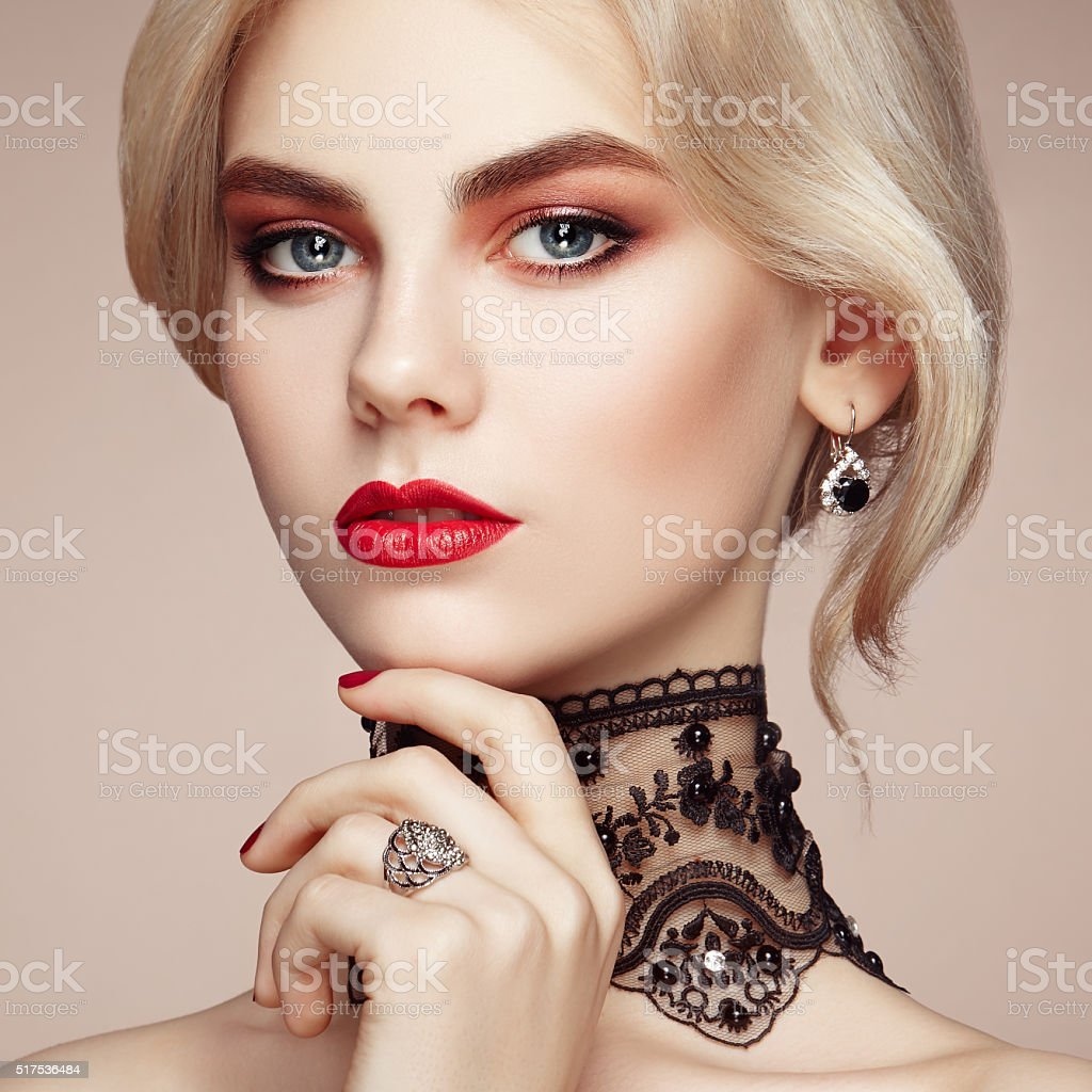 Portrait of beautiful sensual woman with elegant hairstyle stock photo