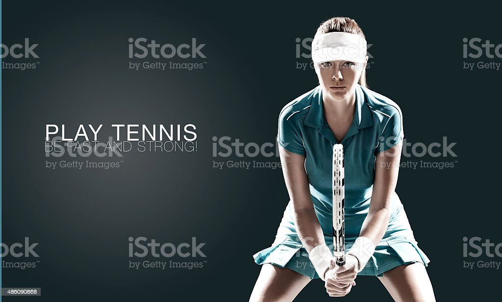 Portrait of beautiful sport woman tennis player with a racket stock photo