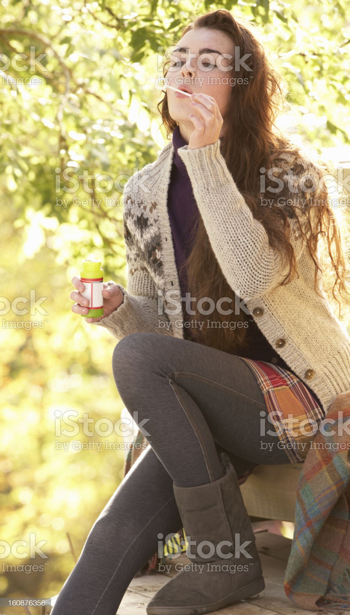 Portrait Of Beautiful Teenage Girl Outdoors In Autumn Landscape royalty-free stock photo