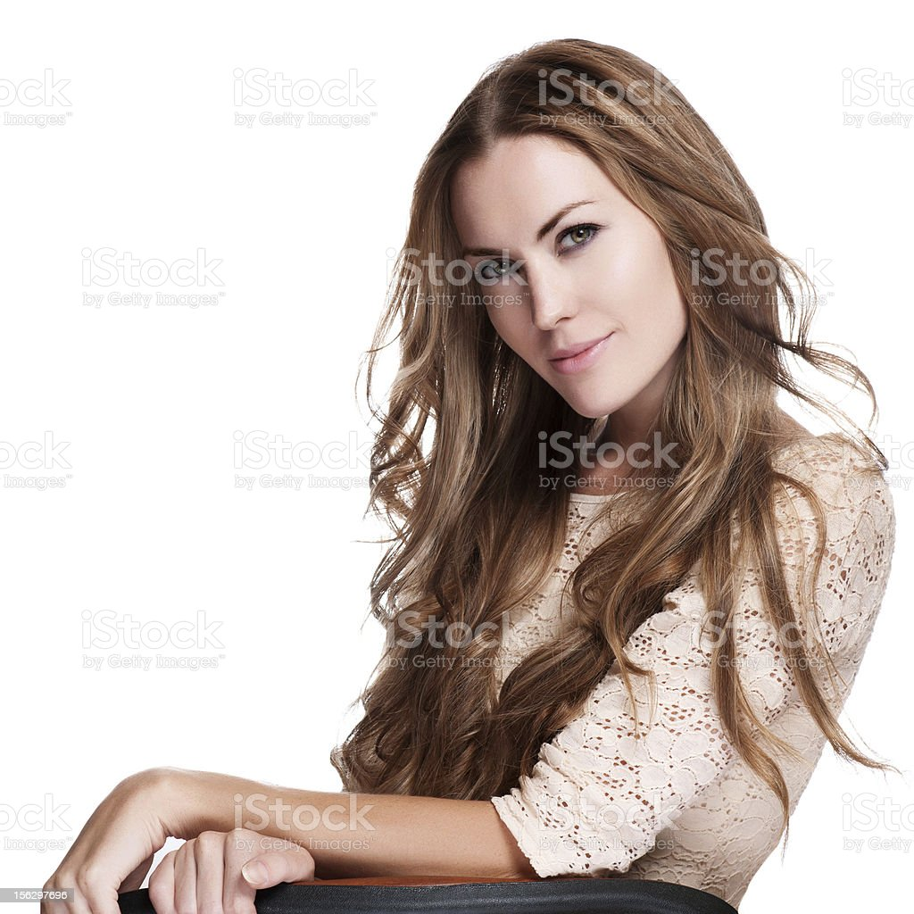 Portrait of beautiful teenager girl with long curly hairs royalty-free stock photo