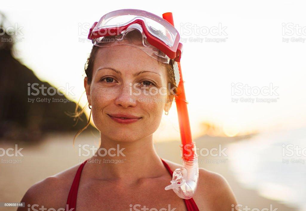 Portrait of beautiful woman after snorkeling stock photo