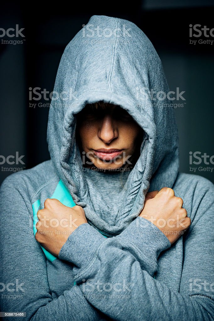 Portrait of beautiful woman after training showing fitness motivation stock photo