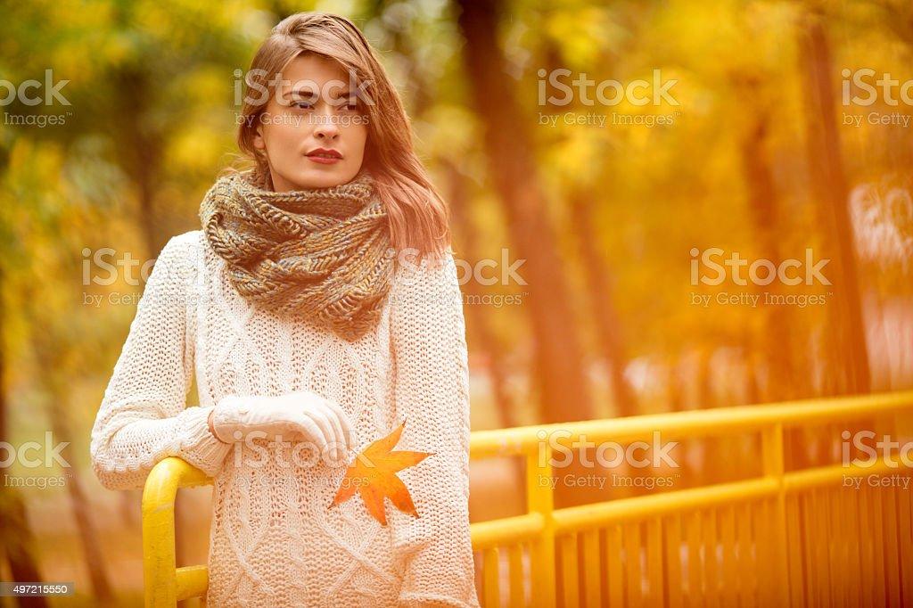 Portrait of beautiful woman in autumn stock photo