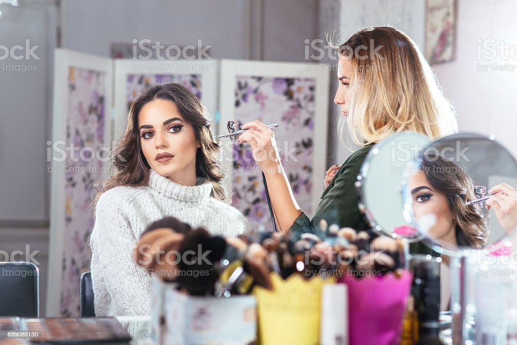 Portrait of beautiful woman in beauty parlour stock photo