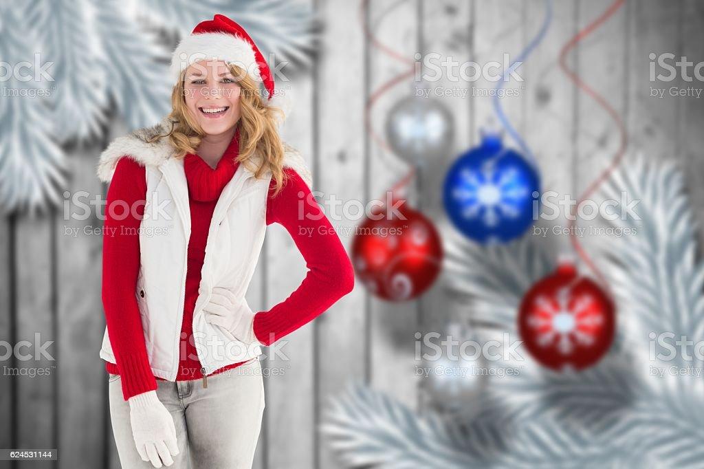 Portrait of beautiful woman in santa hat stock photo