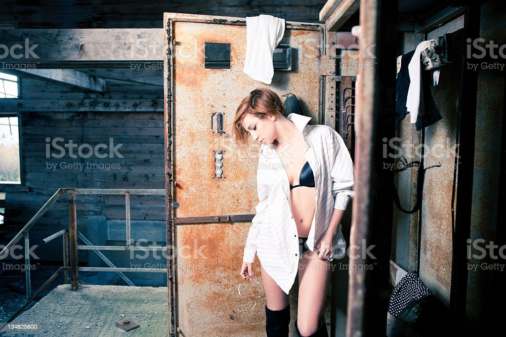 Portrait Of Beautiful Woman In Underwear And Man's Shirt royalty-free stock photo