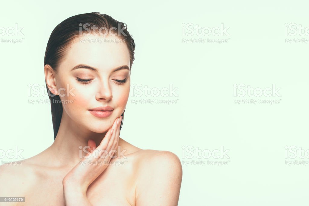 Portrait of beautiful woman model with fresh daily makeup. stock photo