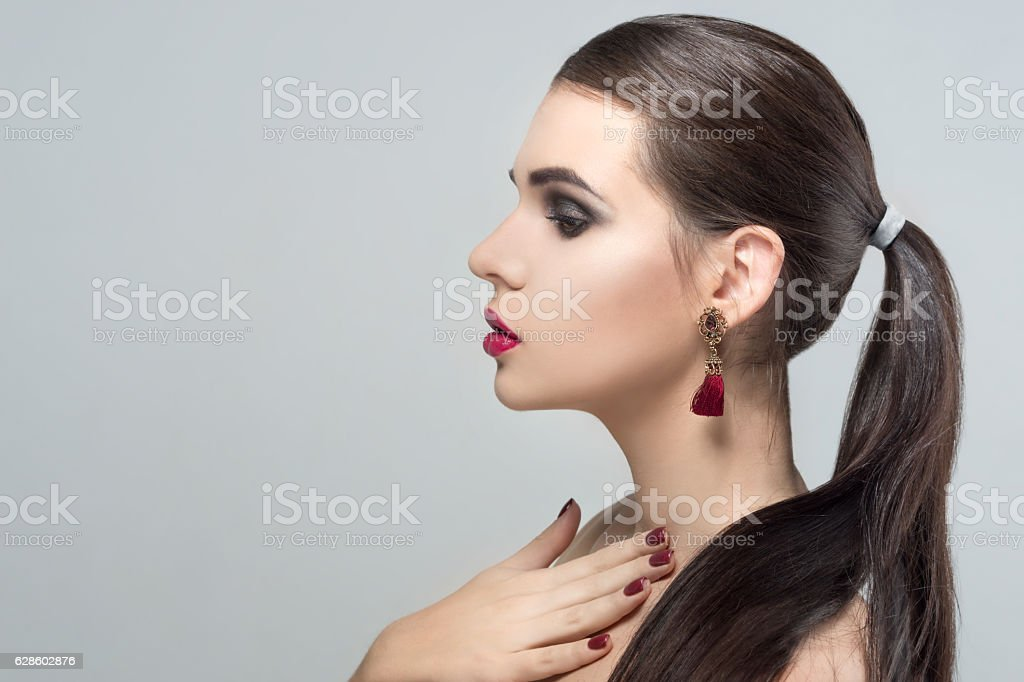 Portrait of beautiful woman model with professional makeup stock photo