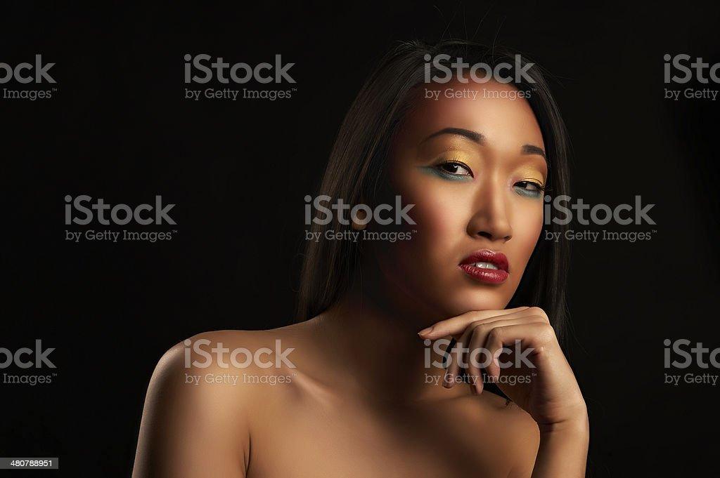 Portrait of beautiful woman on black royalty-free stock photo