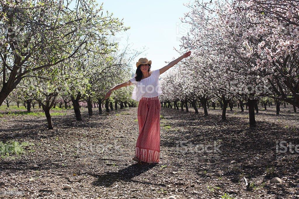 Portrait of beautiful woman outdoors stock photo
