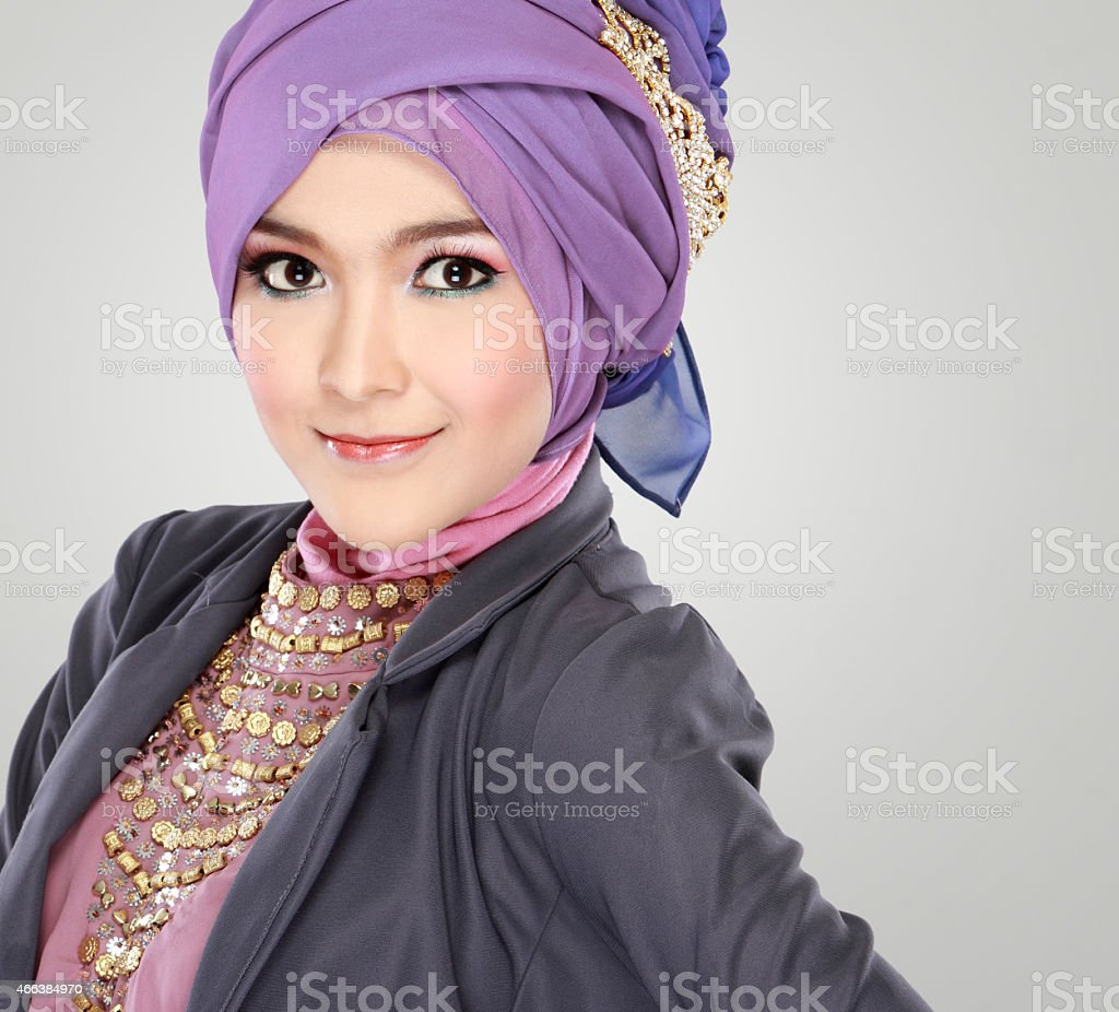 portrait of beautiful woman wearing hijab stock photo