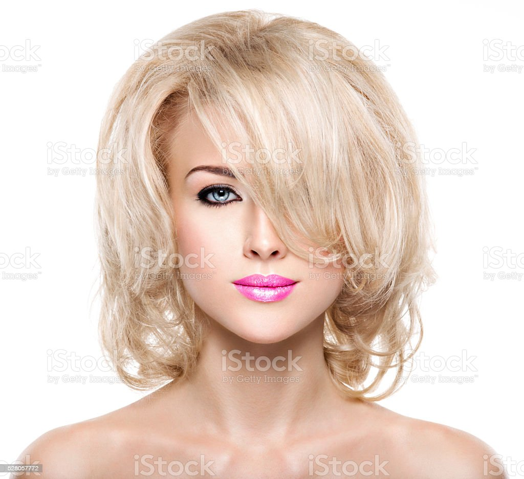 Portrait of  beautiful woman with blond  hair stock photo