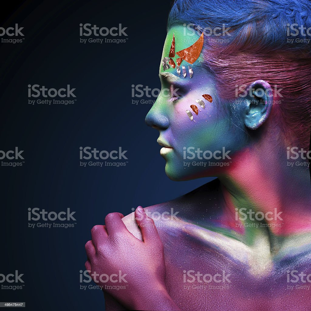 Portrait of beautiful woman with body art. underwater concept stock photo