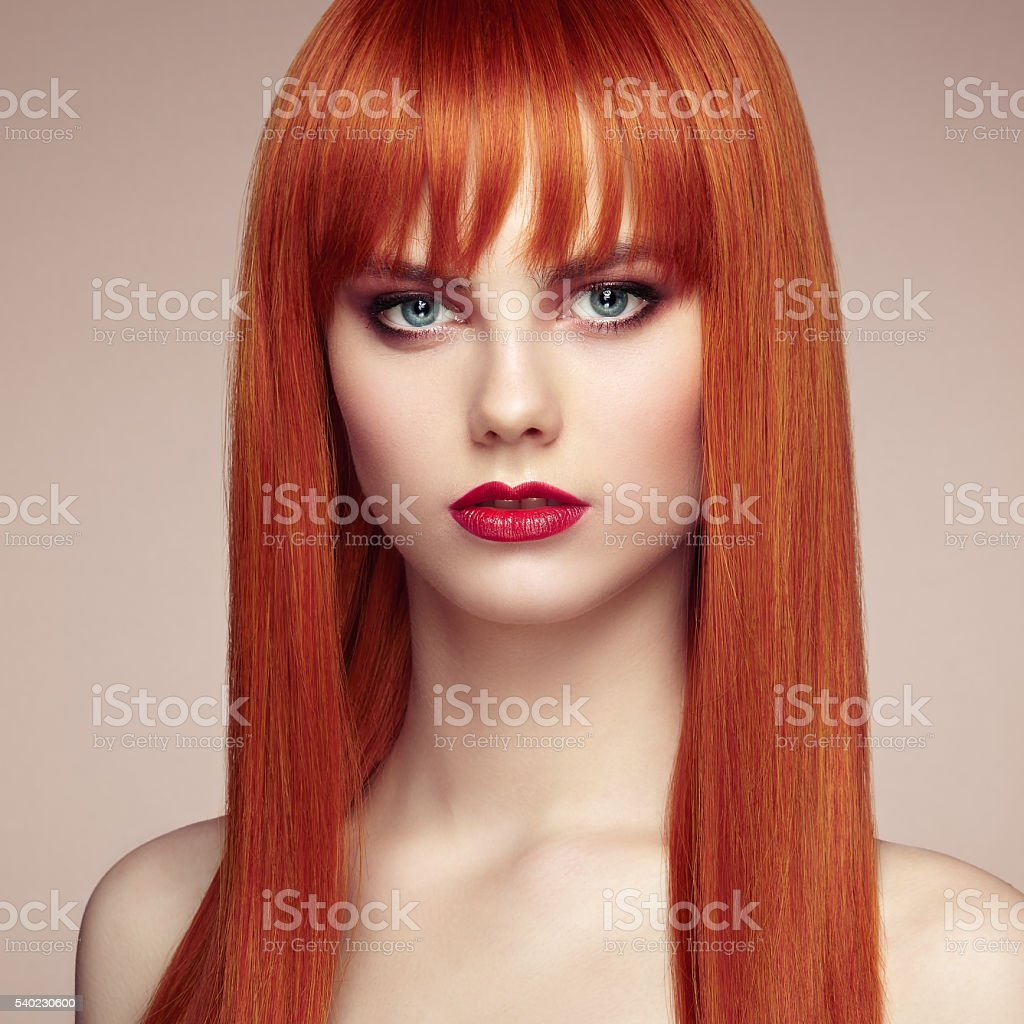 Portrait of beautiful woman with elegant hairstyle stock photo