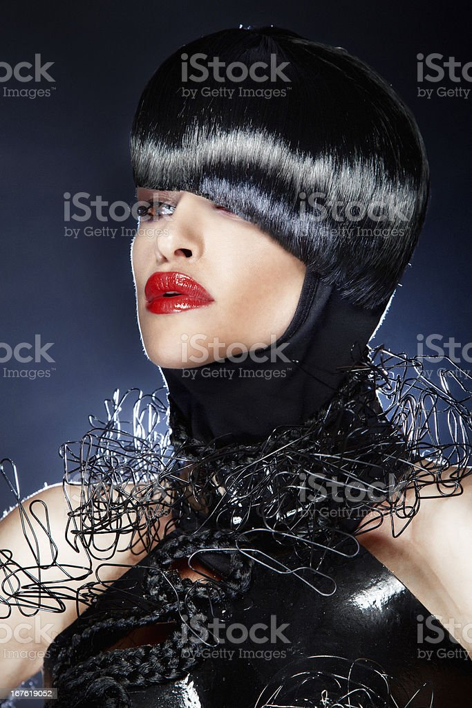 Portrait of beautiful woman with fashionable hairstyle. royalty-free stock photo