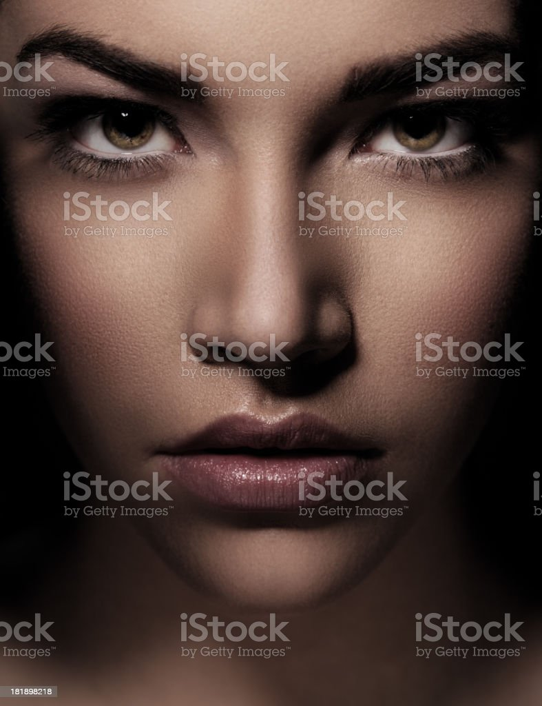 Portrait of beautiful woman with green eyes stock photo