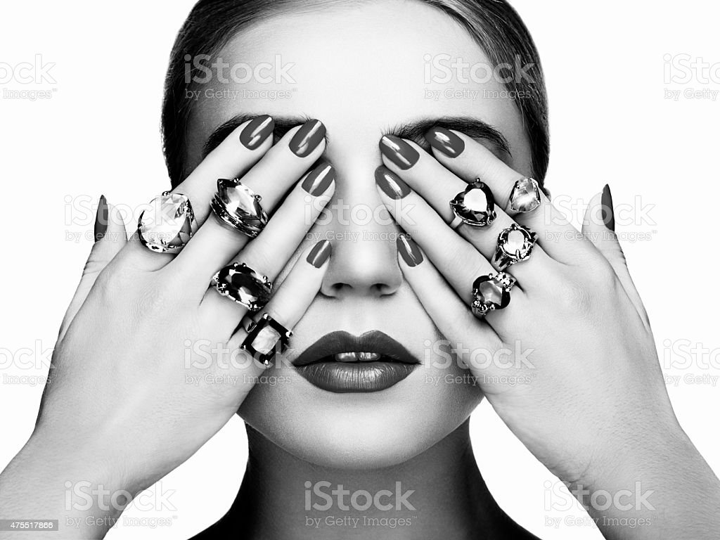 Portrait of beautiful woman with jewelry stock photo