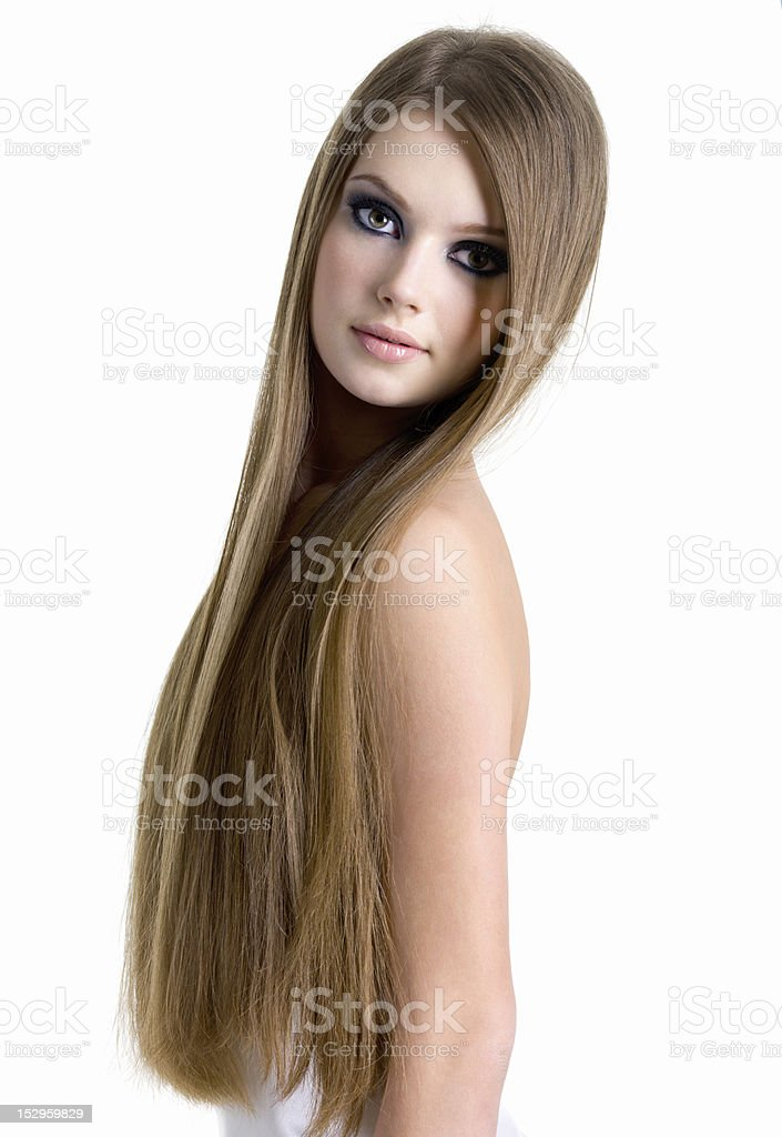 Portrait of beautiful woman with long hair royalty-free stock photo
