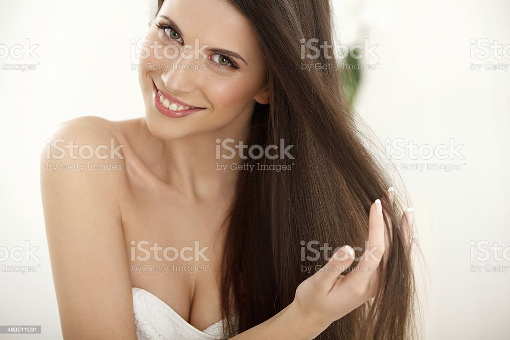 Portrait of Beautiful Woman with Long Hair. stock photo