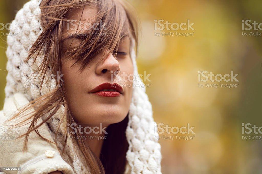 Portrait of beautiful woman wtih scarf stock photo