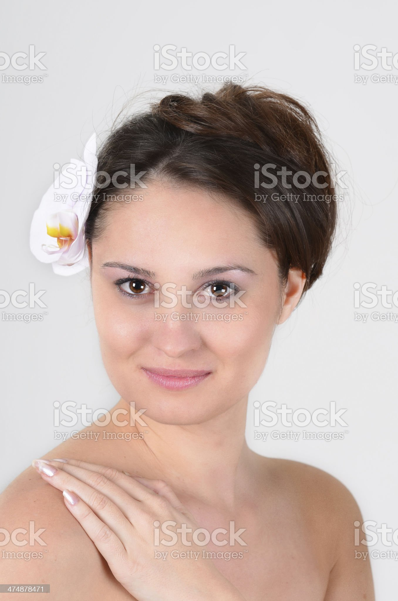 Portrait of beautiful young caucasian woman with perfect smooth skin royalty-free stock photo