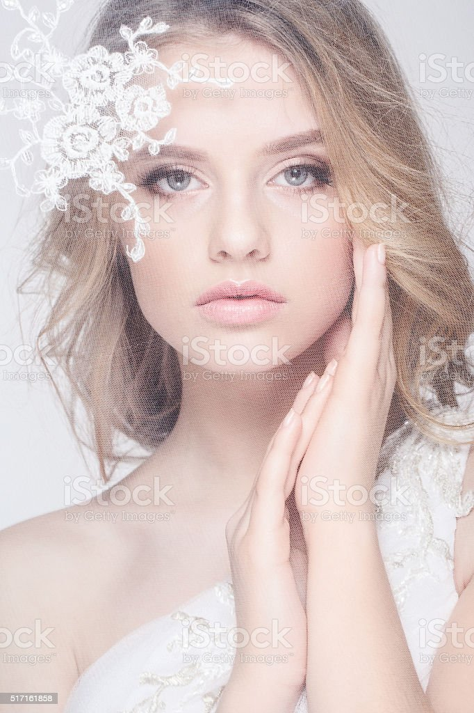 Portrait of Beautiful Young Fashion  Bride Isolated on White Background stock photo
