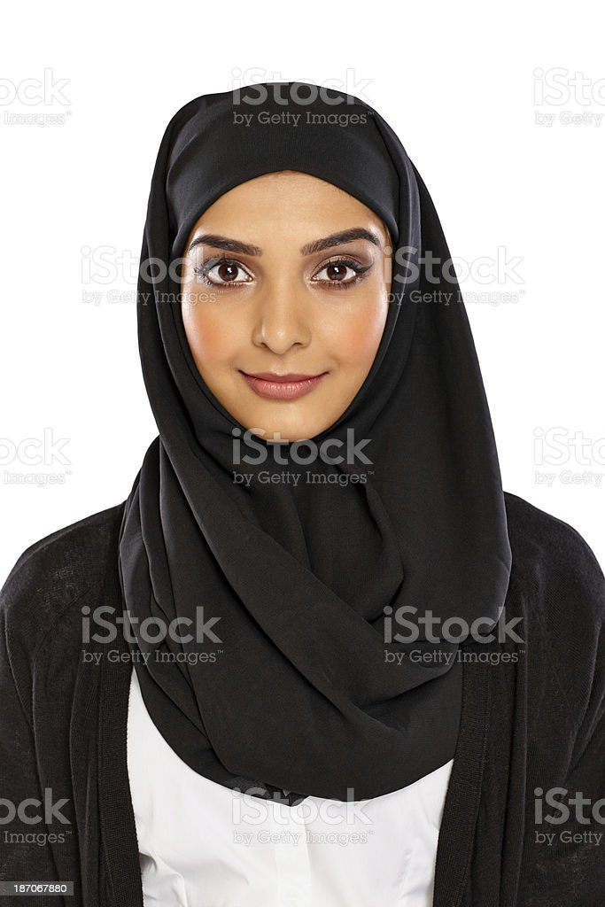 Portrait of beautiful young muslim woman stock photo