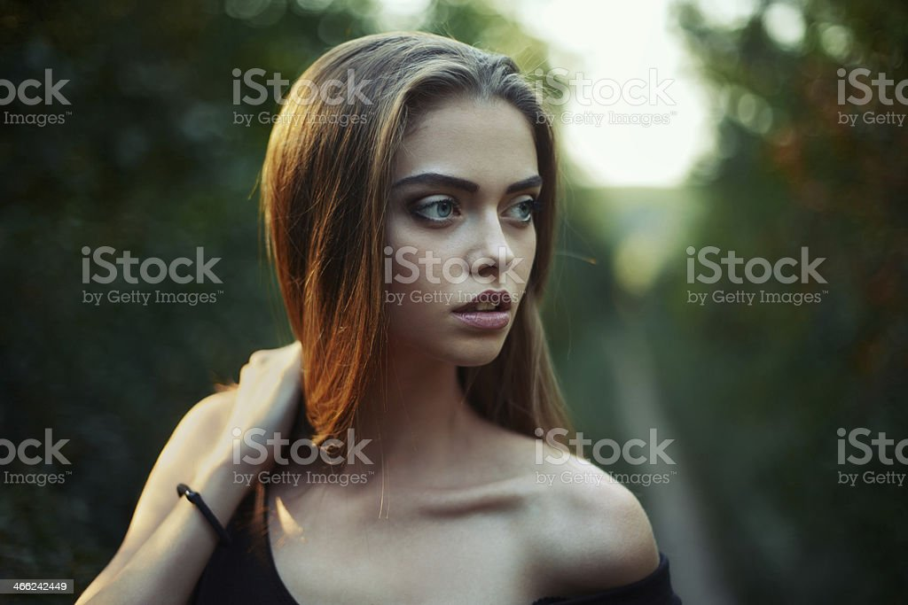 Portrait of beautiful young woman stock photo