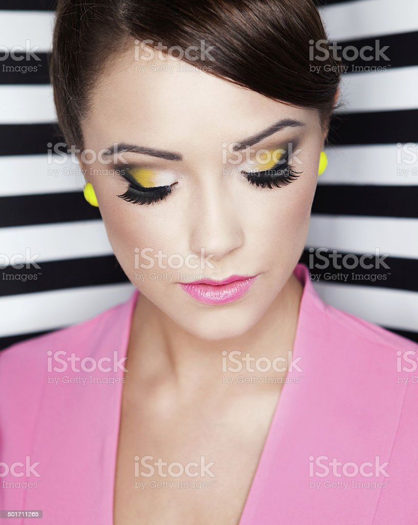 Portrait of beautiful young woman with professional party make royalty-free stock photo
