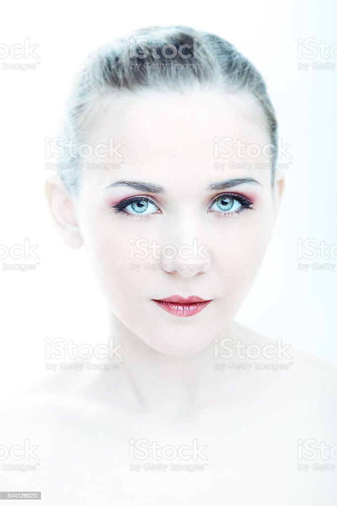 Portrait of beautifull woman in high key stock photo