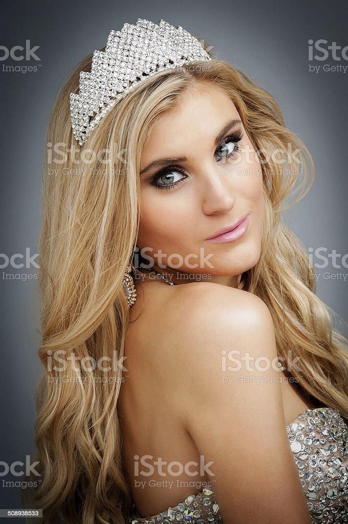 Portrait of Beauty Queen Wearing Tiara. stock photo