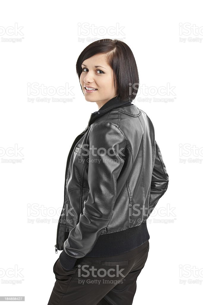 portrait of beauty young woman in black jacket royalty-free stock photo