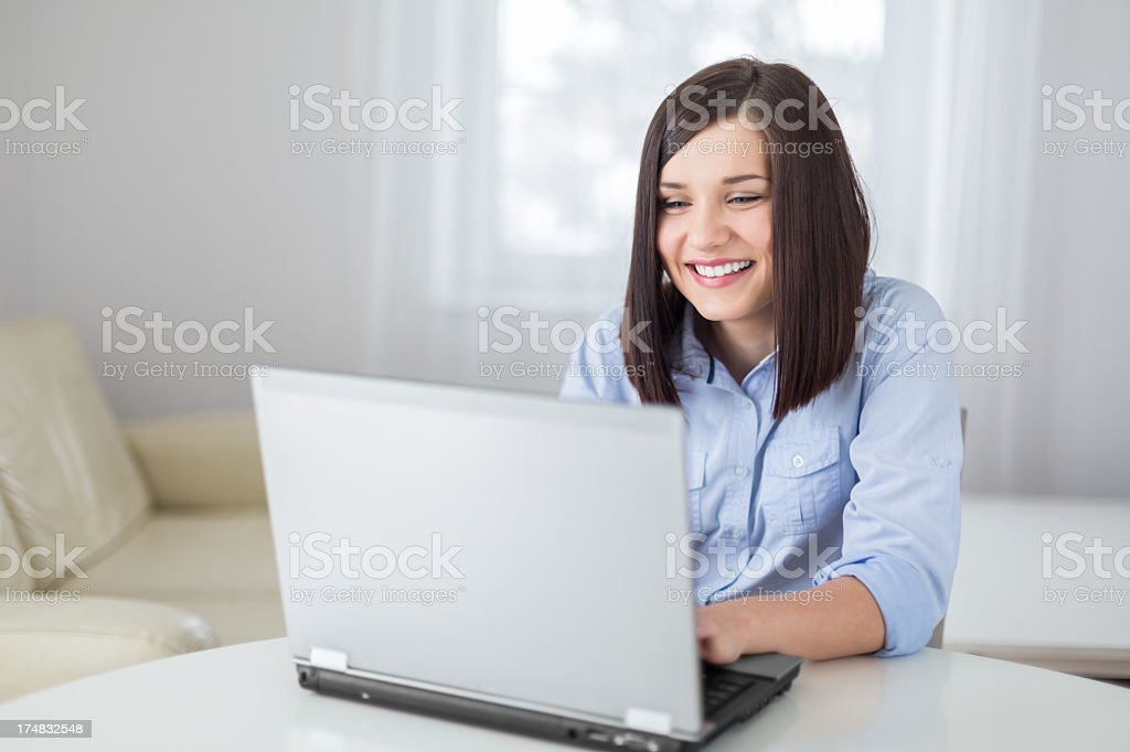 portrait of beauty young woman with laptop royalty-free stock photo