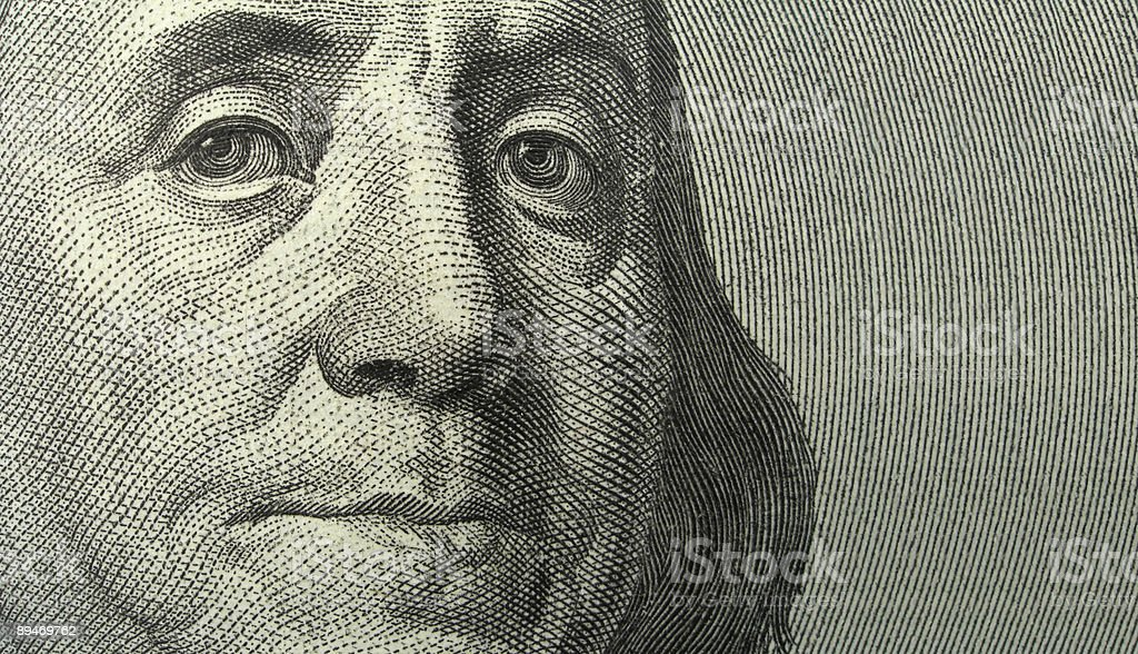 Portrait of Benjamin Franklin with copyspase stock photo