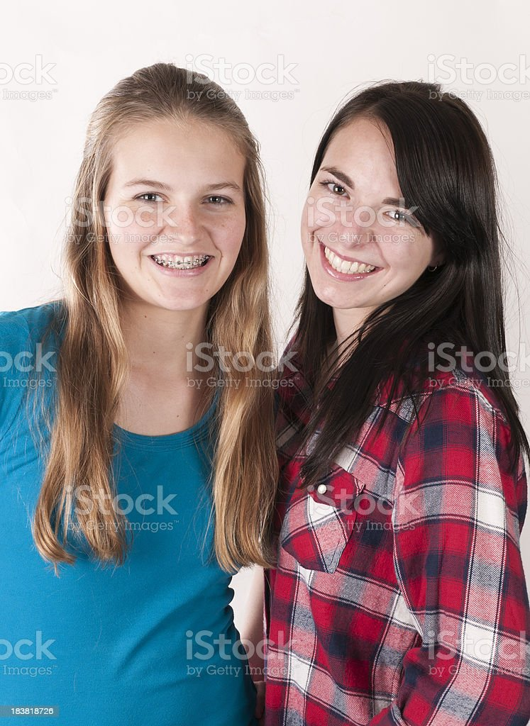 Portrait of Best Friends, Smiling Teen Girls royalty-free stock photo