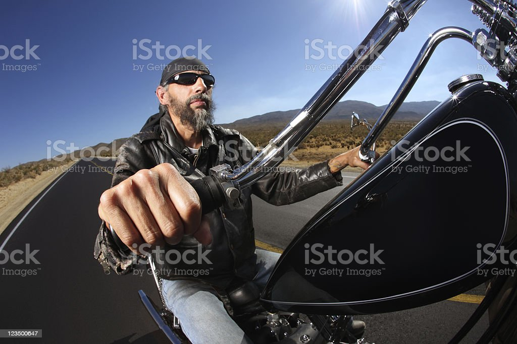Portrait of Biker on the Road royalty-free stock photo