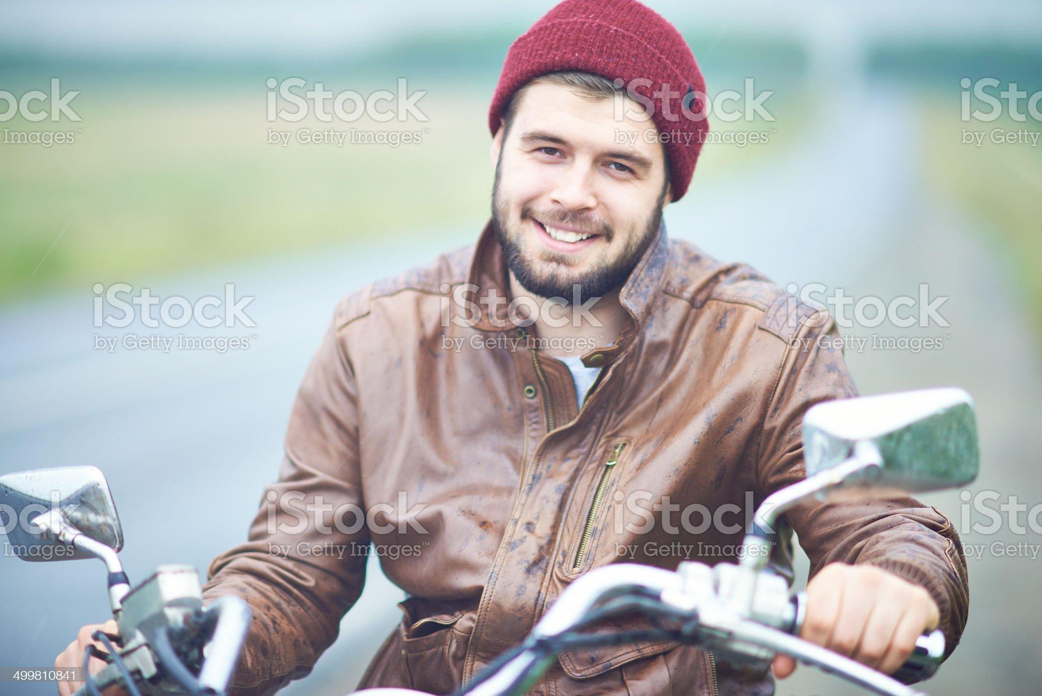 Portrait of biker royalty-free stock photo