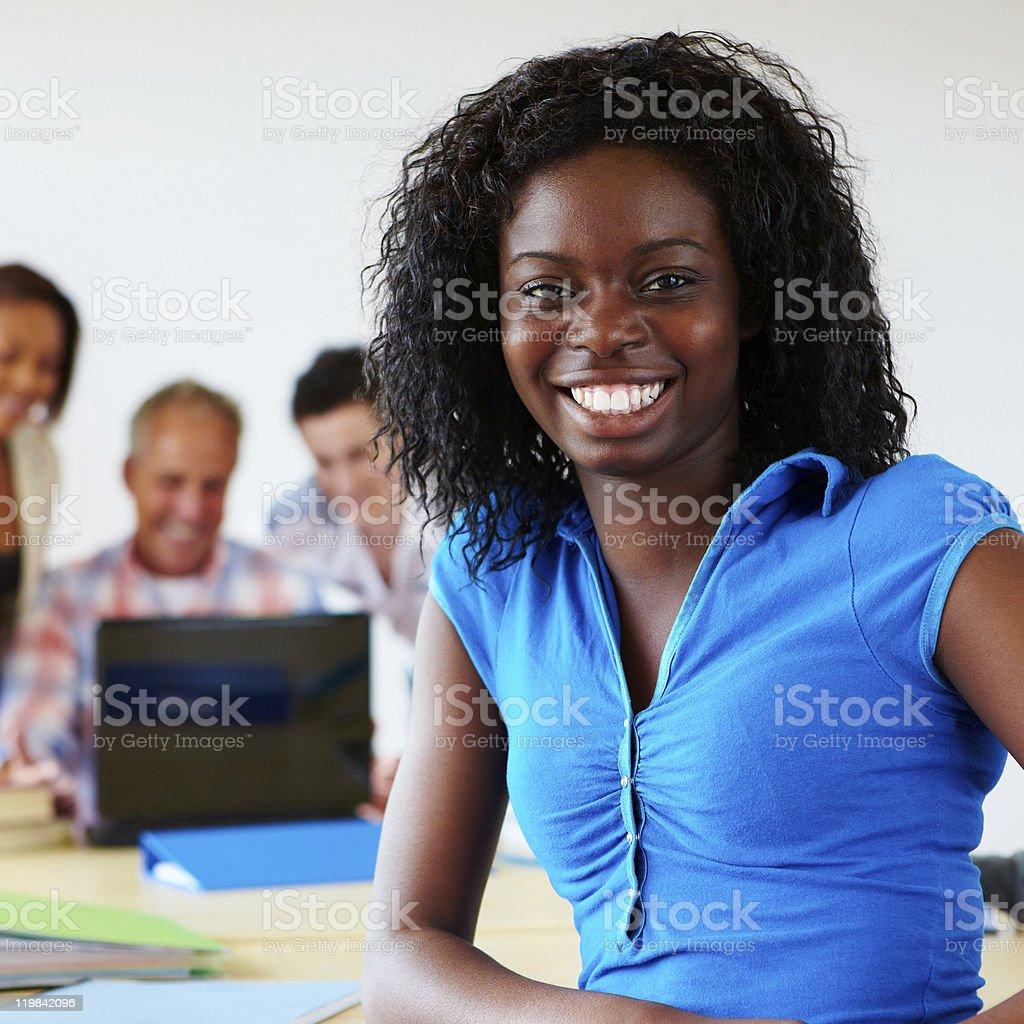 portrait of black female student smiling royalty-free stock photo