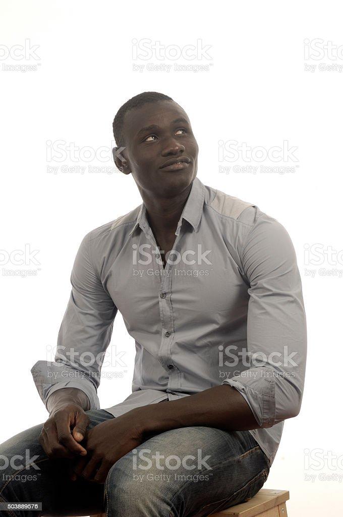 portrait of black man stock photo