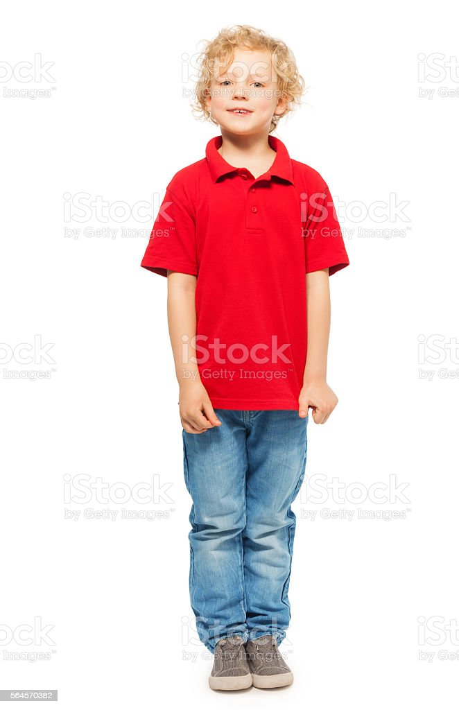 Portrait of blond curly-haired boy in polo shirt stock photo
